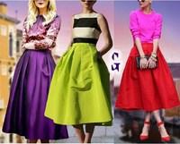 2015 Plus size M L XL XXL High Waist women long Puff skirts sale american apparel neon Green Midi Spring Autumn Saia Longa Skirt
