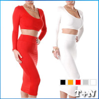 2014 Sexy Women Club Dress Exclusive Orange White Black Gray High Waisted Cropped Outfit Two Piece Bodycon Dresses