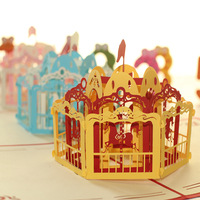 Exclusive Merry -Go -Round Handmade 3D Pop UP Greeting Cards Free Shipping (set of 10)