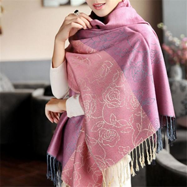 Jacquard Peony Floral Pashmina Fashion Long Dress Wraps Shawls Big Warm Stoles scarf pashmina shawl(China (Mainland))