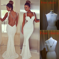New arrivals Tank straps sweetheart mermaid sexy backless sequin prom dress special occasion dresses  2014  B04919