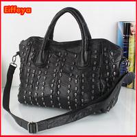 New Fashion Women's Lady Retro Punk Designer Handbag Genuine Leather Tote Skulls Crossbody Shoulder Bag ropship