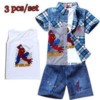 Retail Boys Set Spiderman 3 pieces sets of new Kids suit cartoon blouse+ T shirt + pants Children clothing set boy summer B212