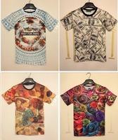 Free Shipping Fashion Animal Print 3D T shirt 3D Dollar Print Tshirt Man T121