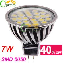 NEW Free shipping LED Spotlight  6 pcs/lot 7W MR16 8-24V 12V 24pcs SMD5050 led Spot light bulb lamp light  Warm White/ White(China (Mainland))