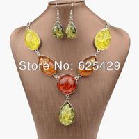 2014 new hot red rhinestone amber big african wedding jewelry sets bridal with stones fashion