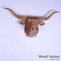 iWood  Buffalo Wall Hangings Euro Style Home Decor Diy Wall Sculptures Walnut