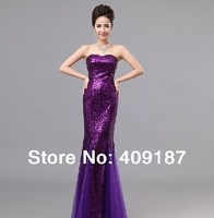 Dress 2014 New Married Long Bride Gown Sleeveless Mermaid Sequined Gown, for performance, A-bridesmaid, party, day