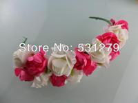 Wedding decoration Artificial Flowers headband  PE foam double color rose flower garland DIY Hawaii wreaths DDW07
