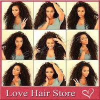 New!100% human hair lace front wig/glueless full lace curly wig 150 density #1b virgin brazilian curly lace wig for black women