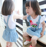 Ratial 2014 summer boby children clothing girls Denim dot bow  dress kids braces dresses princess dress Free Shipping E406