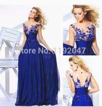 Venta caliente Royal Blue gasa Vestido de noche 2015 para ocasión especial barato el Vestido largo banquete de boda Vestido de festa(China (Mainland))