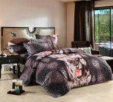Estampa de leopardo realista cama 4pc animais 3D definir queen size capa Colcha / edredon / Consolador define conjuntos de roupa de cama de luxo 3d(China (Mainland))
