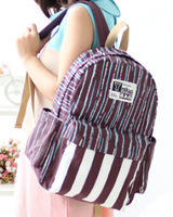 Free Shipping 2014 Summer Striped Printing Canvas School Bags for Teenage Girls Fashion Larg Casual Children Schoolbags