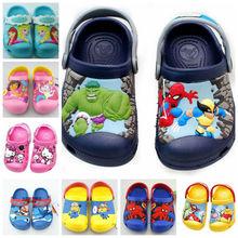 nouvelles 2015 , Anna Elsa, hello kitty , dora , voiture, spiderman , minions , Hulk , 3D plage de bande dessinée pantoufles , sandales bébé , chaussures d'enfants , garçon chaussures fille(China (Mainland))