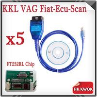 2014 Free Shipping 5Pcs/Lot Version FT232RL Chip VAG 409 KKL USB+Fiat Ecu Scan Diagnostic Interface Tool PC Win 7 10% off
