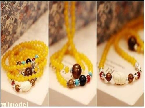 F07767 Buddha Pendant Yellow Canary Stone Beads Multilayer Women's Bracelet JMT(China (Mainland))