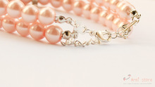 Armi store Handmade Cat Dog Necklace 2 Rows Pink White Gold Pearl 51031 S M L
