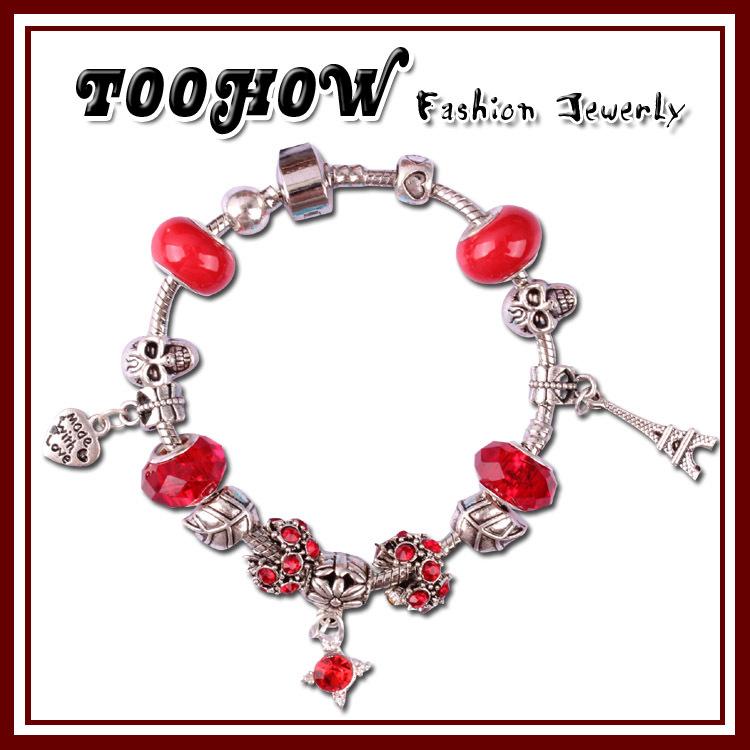 TOOHOW High quality 2014 European Crystal Snake Chain Bracelet for Women With Murano Glass Beads DIY Jewelry PB08(China (Mainland))