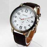 Fashion Men's Watches Quartz Watch Business Men Wristwatches leather strap watches Hardlex Stainless SteeL Analog Round Watches