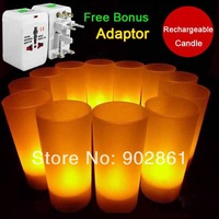 Funlife 12 pcs/set Rechargeable Candles Wedding Party LED Candle Light Yellow Flicker Flameless With Free Adaptor BD1106