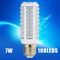 Hot-Sale 108leds E27 LED 220V 7W LED bulb lamp,Warm white/white LED Corn Bulb Light , LED light-emitting diodes,free shipping