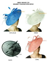 New color. BIG sinamay hat fascinator w/feathers,veiling,sequin for races,wedding,kentucky derby.royal,coral,ivory,black.