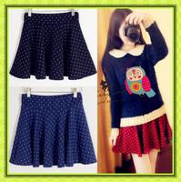 free shipping Vintage polka dot short women's skirt bust skirt for women pleated skirt high waist puff skirt