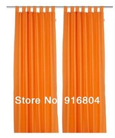 Free Shipping!! Best Discount 2 Pieces Cheap High Quality Orange Color Sheer Window Curtains, 140cm(Width)*245cm(Height) /piece