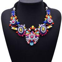 New Brand Shourouk Alloy Flower Vintage Statement pendants & necklaces Crystal jewelry Fashion Choker Necklace 4003