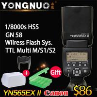 YONGNUO YN-565EX II,YN565EX II,GN58 TTL Flash Speedlite for Canon 6D 7D 5D Mark II, 5D Mark III, 70D 60D 1Dx 700D 650D 5D 600D