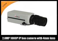 Free shipping HD 1080P 2.0 Megapixel IP Box Camera 30fps@1080P H.264 Network Onvif 4mm fixed lens