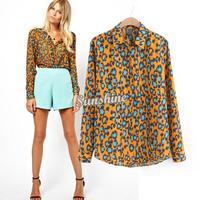 Hot Fashion Ladies' Elegant Leopard print blouse shirt long sleeve casual slim office lady brand designer tops SV001110 b003
