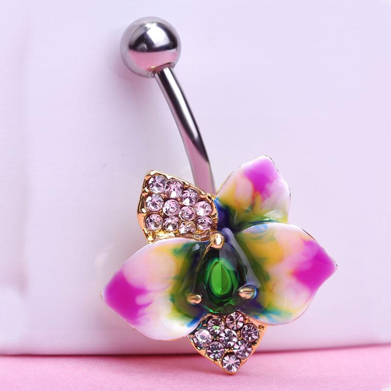 Epoxy Enamel Flower Belly Button Sexy Body Jewelry For Women Bars Piercings Needle VAZ Brand Luxury Jewelry Lot Spiral(China (Mainland))
