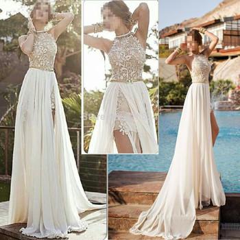 Романтический белый платье выпускного вечера высокий низкий кружева особых поводов платье высокая шея бисером шифоновое ну вечеринку платье ED1407