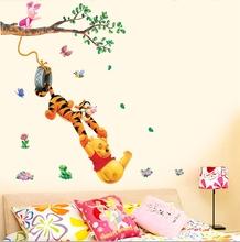 Cartoon Animals Pooh vinil árvore adesivos de parede para crianças quartos meninos meninas decoração de casa decoração adesivos de parede adesivo criança em casa(China (Mainland))
