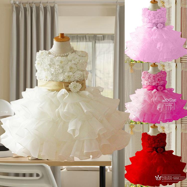 Retail 2014 new sleeveless Waist Chiffon Dress Girls Toddler 3D Flower Tutu Layered Princess Party Bow Kids Formal Dress(China (Mainland))