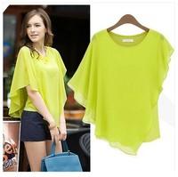 Fashion formal 2014 T-shirt short-sleeve ruffle chiffon shirt top women's batwing shirt B09