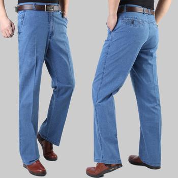 Бесплатная доставка мужская лето тонкий джинсы пожилые эластичный пояс прямо Большой ...