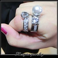 Fashion punk vintage jewelry big pearl silver ring plated brand White pearl rhinestone elegant 2 part rings set for women love