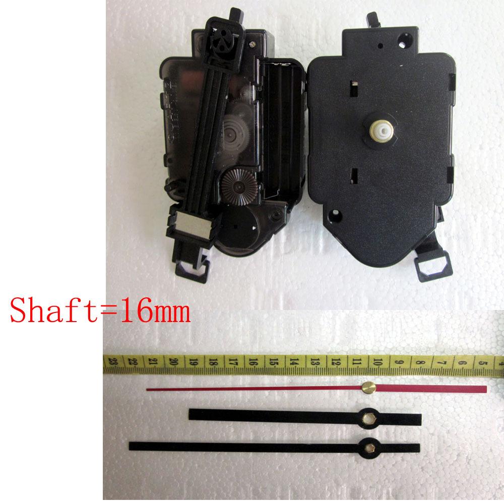1set Luminous Quartz Pendulum Clock Movement Kit Spindle Mechanism shaft 16mm Jump seconds tick sound mechanism FREE SHIPPING(China (Mainland))