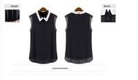 New 2014 Spring Women Blouse Plus Size Fashion Casual Chiffon Blusas Vintage Collar Sleeveless Body Tops Girls Summer Shirts