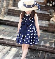 Children's clothing 2015 dots medium-large female child 100% cotton lace two-piece dress princess dresses performance for girls