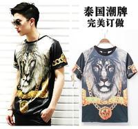 2014 Tide brand new men Holdem denim red-eye round neck short sleeve summer t-shirt printing Lionhead Free Shipping YA151186