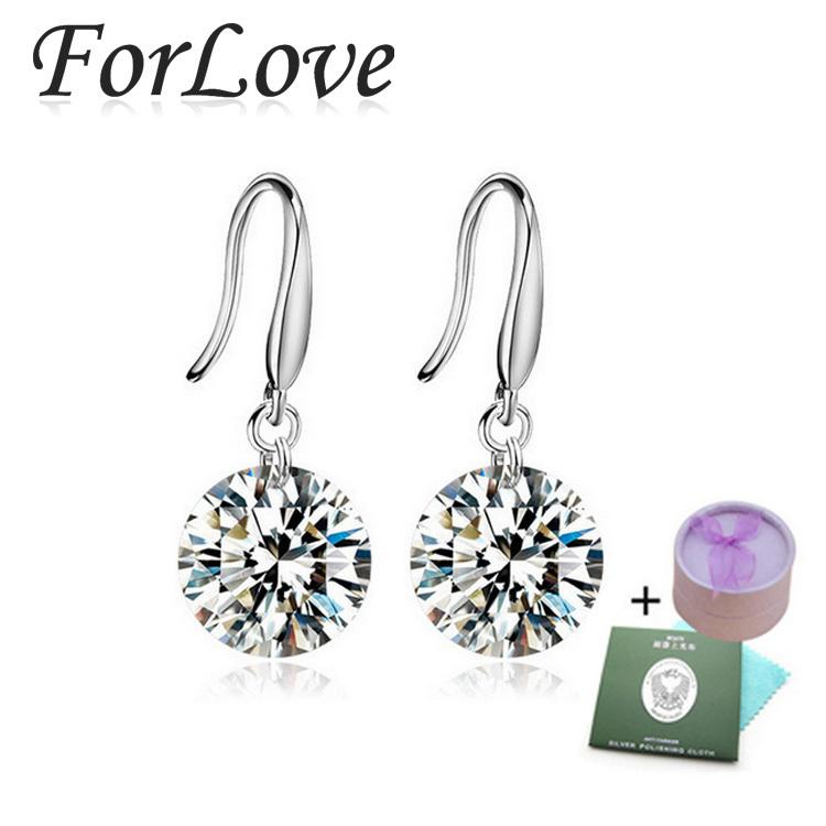 925 Sterling Silver CZ Diamond big earrings brincos statement dangle drop long earings for women Wedding Jewelry a2 E407(China (Mainland))