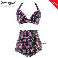 2014 New Vintage Swimwear Rose Prints Bikinis Set Push Up Woman Bikini High Waist Swimwear Brazilian Bikini Retro Two Pieces
