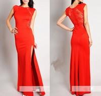 Evening party Long Dresses Women XXXXL Plus size Black Lacespring 2014 Bodycon Split Red brief Dress vestidos de fiesta Gowns