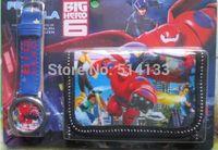 New Free shipping 10 pcs Big Hero 6 cartoon watch Wrist watch+ purses Wallet ,Combination of gift set of birthday gift