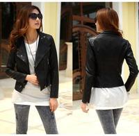2014 new spring  fashion womens high quality design black blue short PU leather female slim motorcycle bomber jacket coat KR604