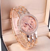 2014 New Fashion Geneva Watch Women Dress Watches Rose gold Full Steel Analog Quartz Ladies Rhinestone Wristwatches 3COLOR